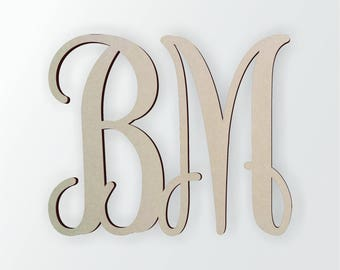 wooden monogram unfinished cursive wooden letter perfect for crafts diy weddings sizes 4 to 42