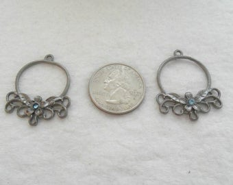 M* Gunmetal Chandeliers for Earrings or Necklaces with Swarovski Crystal (1651)