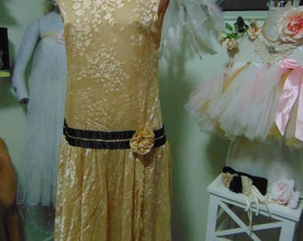 Genuine Vintage 1960s Sparkle Embossed Floaty Chiffon Drop Waist 1920s Flapper Style Dress sz 12