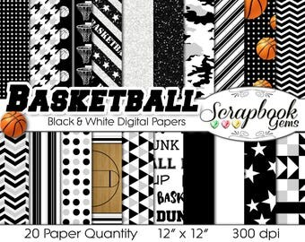 """Basketball Digital Papers Black, Silver, & White, 20 Pieces, 12"""" x 12"""", High Quality JPEGs, Instant Download Commercial Use Sports Glitter"""