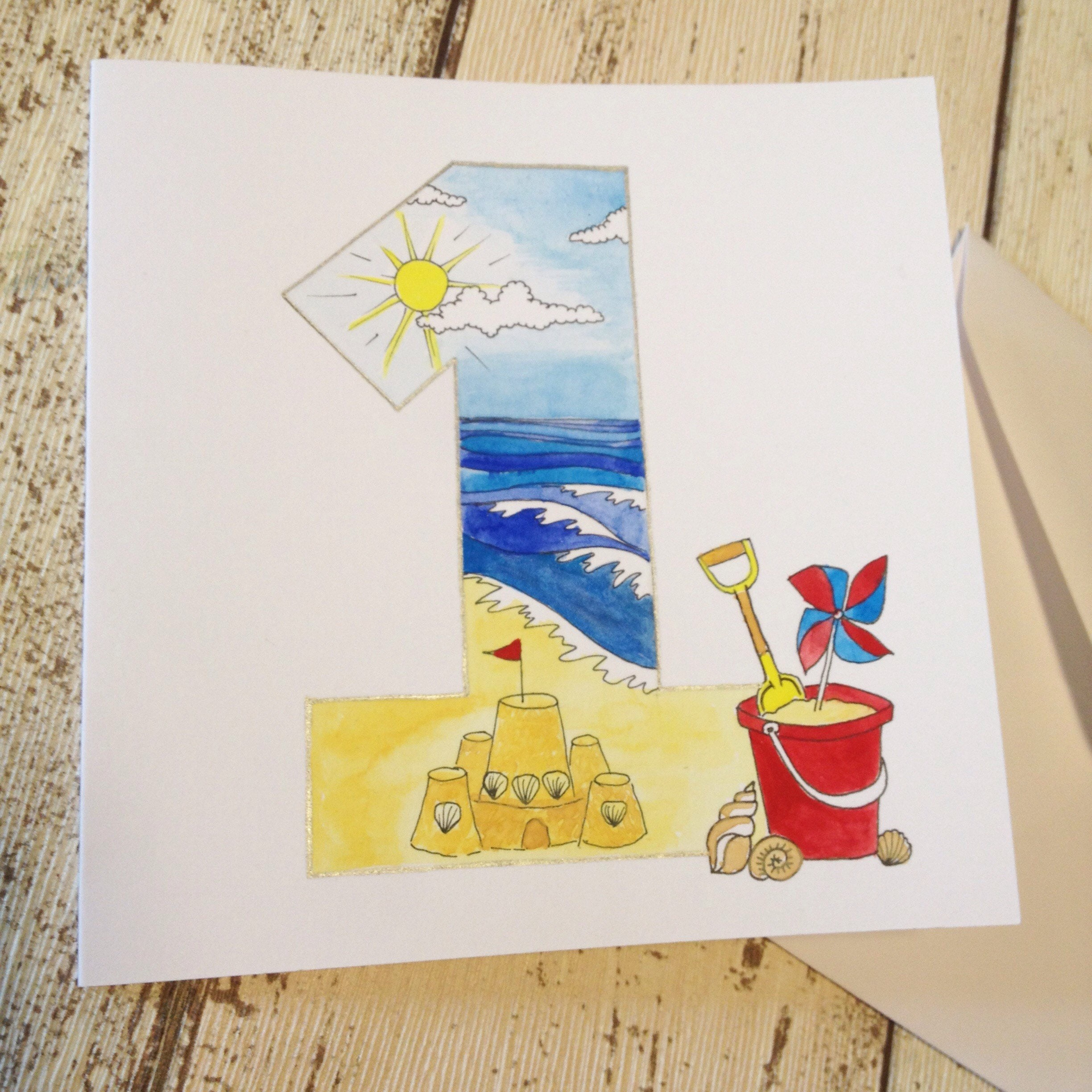 Wall Street Themed Birthday Cards : Beach theme st birthday card bucket and spade number