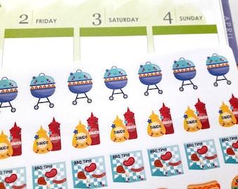BBQ stickers, barbeque stickers, planner stickers, kawaii stickers, food stickers for Erin Condren, Happy Planner, Filofax, Kikki K, TN