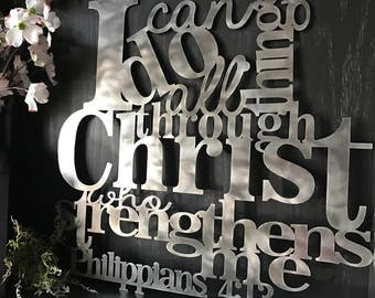 Philippians 4:13 I Can Do All Things Through Christ Metal Verse Wall Decor