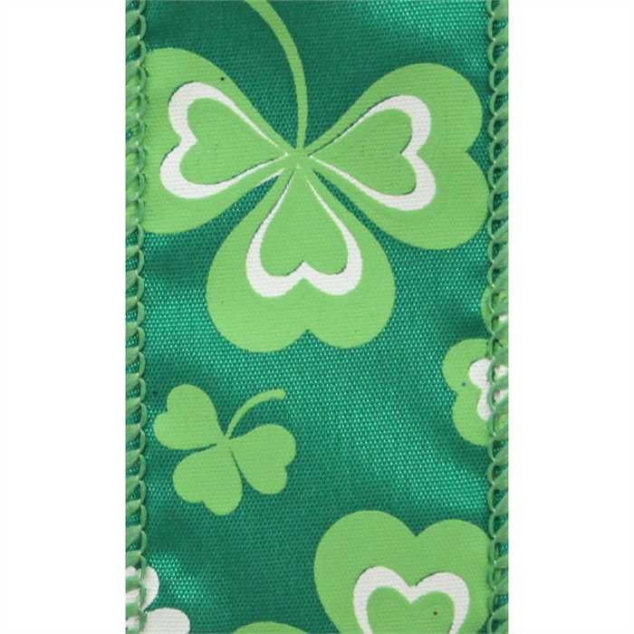 1 5 Inch Wired St Patrick S Day Ribbon Green Satin