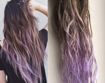 Brown And Lavender Ombre Hair