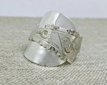 Silver spoon ring, antique silver spoon ring, Dutch silverware, silver spoon jewelry, vintage spoon ring, Netherlands silver spoon jewelry