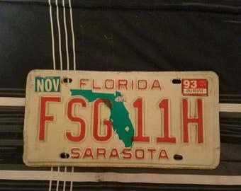 Florida sarasota 1993 license plate