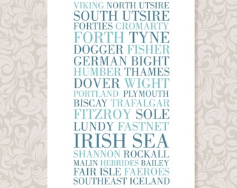 The Shipping Forecast (A4) print in 3 colours