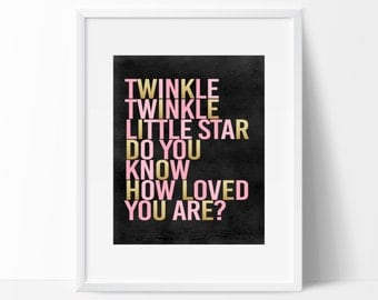 Pink and Gold Twinkle Twinkle Little Star Sign, Twinkle Twinkle Printable Birthday Sign, Instant Download Twinkle Twinkle Sign
