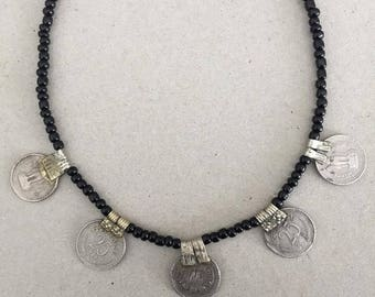 ethnic rupee coin necklace - black