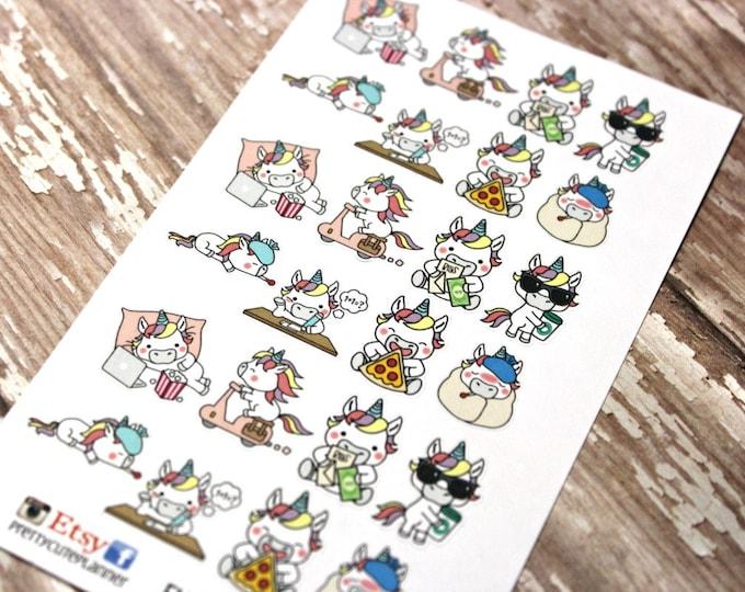 Unicorn Stickers - Unicorn Planner Stickers - Character Stickers - Pizza Unicorn - Sick Unicorn - Pay the bills Stickers - Coffee Unicorn