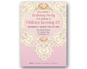 Lace 12th Birthday Invitations for Girl's, Teen Birthday Invitation, Tween,s Girl's 13th 14th 15th or Any Age, Ombre Pink Shabby Chic Invite