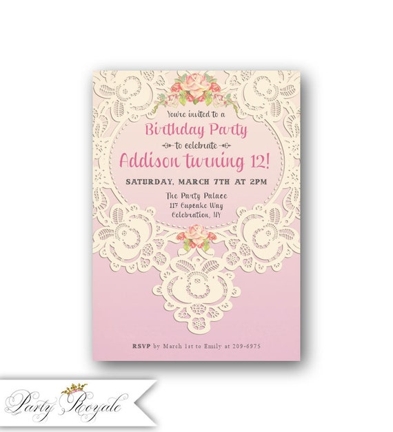 Lace 12th Birthday Invitations for Girls Teen Birthday – 12th Birthday Invitations
