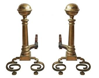 Swirled Foot Brass Andirons - A Pair