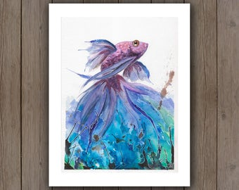 Watercolour Art Print - Splashing Beta Fish / Koi Painting / Splatter Handpainted Blown Watercolor Painting / Ocean Theme Gift