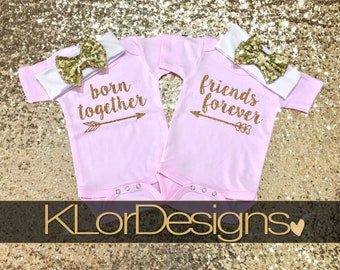 Twin outfits, Born Together Friends Forever, twin baby girls, baby girl clothes, baby coming home outfit, twins