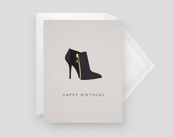 Black Boot Birthday Card | Birthday Card Card | Greeting Card | Fashion Card | Style Card | Shoe Card