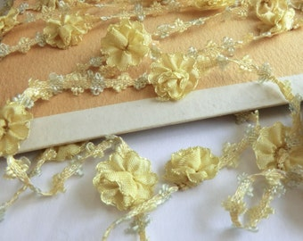 Antique French Rococo Trim Dreamy Soft Yellow Flowers Woven Ribbon Old Stock per Yard ca 1930
