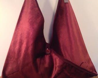 Handmade Wine Red Velvet Messenger Handbag Shoulder Crossbody Bag Luxury Designed by AviBag