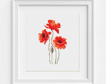 Poppies Cross Stitch PDF Pattern Wildflower Embroidery Chart Natural Birthday DIY Gift Baby Room Decor Easy Pattern Modern Counted Red Flora