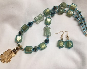 24kt Gold Oak Leaf Drop Pendant Set with Blue & Green Assorted Iridescent Beads
