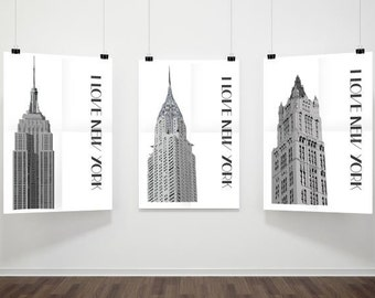 New York print set, New York poster, Set of 3 prints, New York buildings, New York architecture, Architecture art