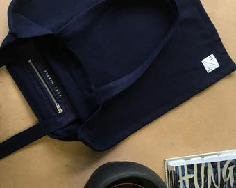 Navy Blue Cashmere wool Tote bag