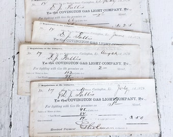 Set of 4 Antique 1870's Covington Gas Light Co Receipts - Ephemera - Mixed Media - Collage - Papercrafting