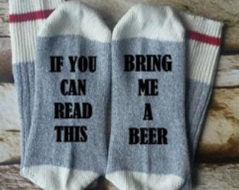 beer socks,  bring me beer, if you can read this, gifts for him, birthday  gift, beer lover, daddy socks, socks for dad, birthday gift