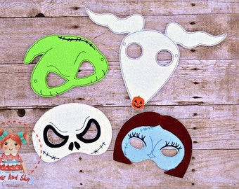 Nightmare Before Christmas Inspired Masks Jack Sally Oogie Boogie Zero Halloween Party Idea