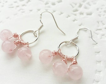 Rose quartz earrings, dangle earrings, mixed metal jewelry, 925 silver, gifts for her, gifts for mum, gemstone jewellery, rose gold earrings