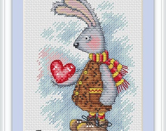Сross stitch Rabbit.Сross stitch pattern, PDF, modern cross stitch.