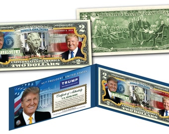 DONALD TRUMP 45th President Two Dollar Bill on Genuine Legal US Currency