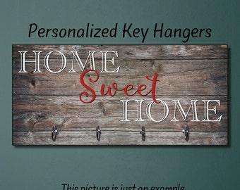 Home Sweet Home, Wedding Gift, Anniversary Gift, Personalized Housewarming Gift, New Home Gift, Home Decor, Wall Decor, Key Rack, Key Hanger