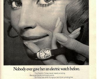 "1970 Timex electric watch vintage magazine ad  "" nobody ever gave her a electric watch before"" 1705"