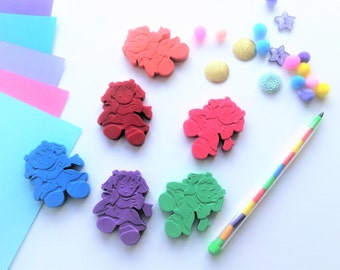 6 Dolly Shaped Crayons, Ragdolls, Novelty Shaped Crayons, kids gifts, toddler gifts, girls, tea party, party bag favours & fillers, toys