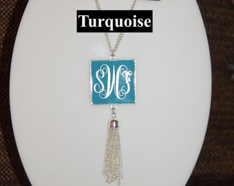Square Pendant Monogram Tassel Necklace Silver