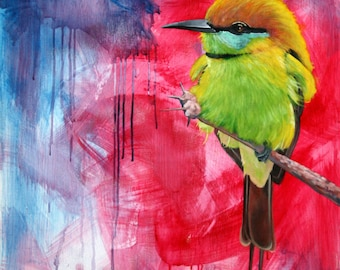 Painting baby bee eater, canvas, oil painting. 110 x 70 cm. box oil Bee-eater breeding