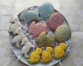 Easter cookie assortment, personalised easter cookies, easter treats, easter bunny, easter eggs, easter chic,