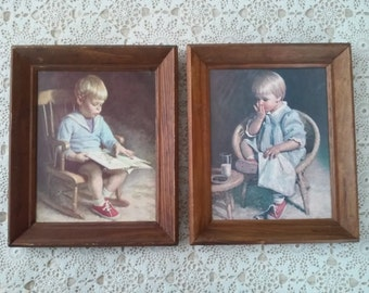 """Pair of framed prints of boy and girl """"Gary and Gretchen"""" by James Ingiverson  Nursery pictures"""