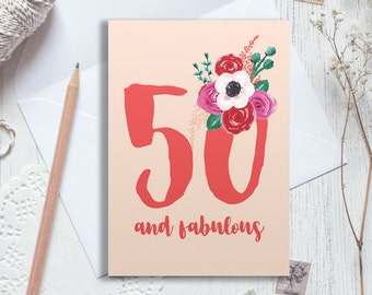 Personalised 50th birthday card, 50 birthday card, happy 50th birthday, personalised birthday card