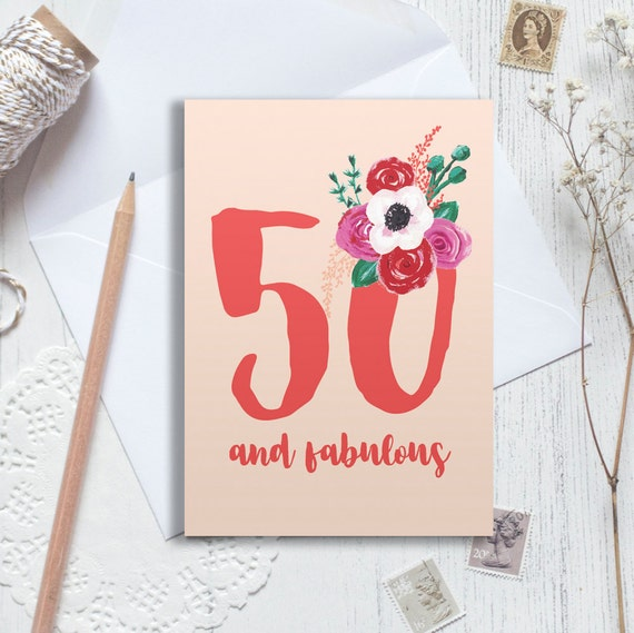 Handmade Personalised 50th Birthday Flowers Card