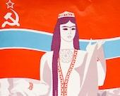 Vintage poster, Soviet propaganda, Poster print, Portrait, Soviet poster, Woman portrait, USSR art, Original art, Home decor, Retro art