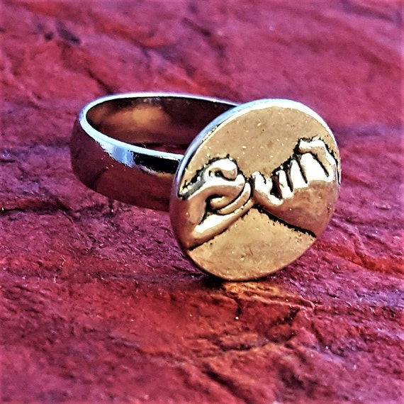 Pinky Promise Ring, Bodybuilder Weightlifter Jewelry, Weight Plate Ring, Fitness Runner Jewelry, Triathlon Jewelry, Swim Bike Run Rings Gift
