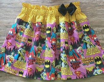 Super Girl Skirt, Wonder Woman Skirt,  Bat Girl Skirt, Super Girls Skirt