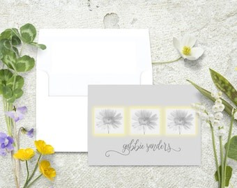 Personalized Sunflower Note Cards, Sunflower Stationery, Daisy Note Cards, Thank You Cards, Flower Stationary Set, Notecards