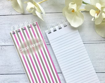 Spiral Bound, To-Do Lists, Set of 3 Personalized Note Pads, Striped, Pink, Gray, Grocery Lists, Lined Sheets of Paper, Monogrammed