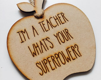 Personalised Ornament Apple Teacher Gift Bauble Personalized Christmas Gift Hanging Bauble Gifts for teachers AP1