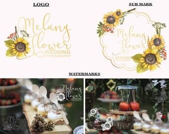 Sunflower logo design Premade logo Photography logo Flower logo Yellow logo Hand-written logo Branding Kit Logo Design Branding Package