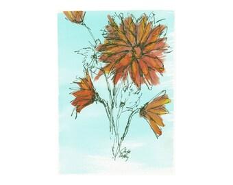 Orange Daisies - original artwork